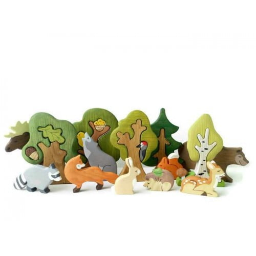 BIG SET Animal toys Forest animals (9pcs) + Trees (5pcs)