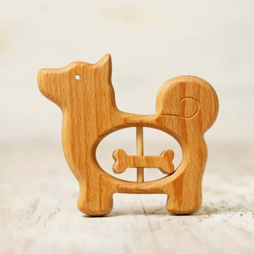 Wooden Baby Teething Toy Dog and Bone