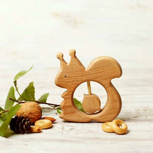Wooden Teether Toy Squirrel and Nut