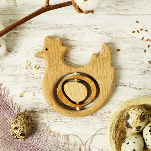 Wooden teething Toy Chicken and Egg