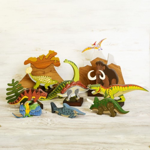 Wooden Dinosaurs Toy Set