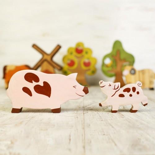 Piglet figure wooden toy