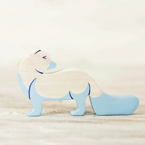 Wooden Arctic Fox toy