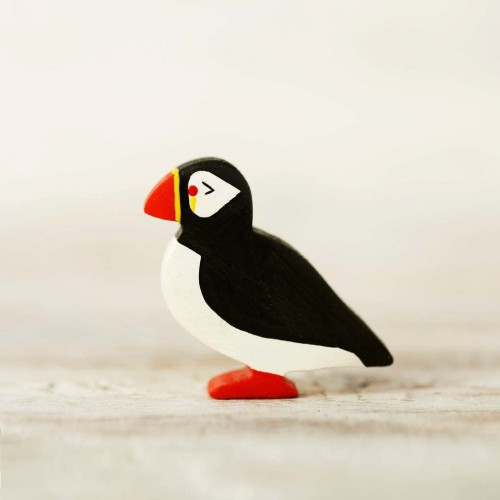 Wooden toy puffin figurine