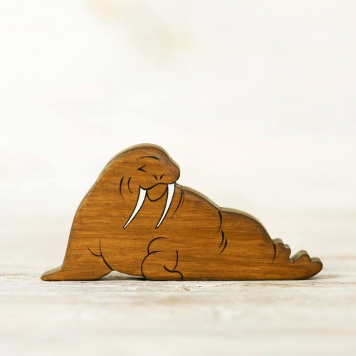 Wooden toy walrus figurine
