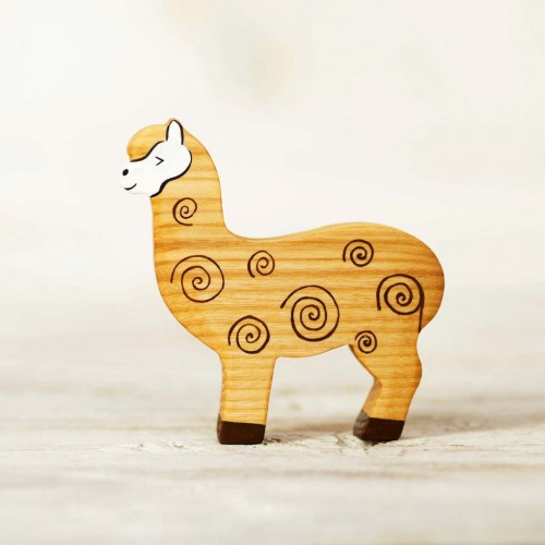 Wooden toy alpaca figurine