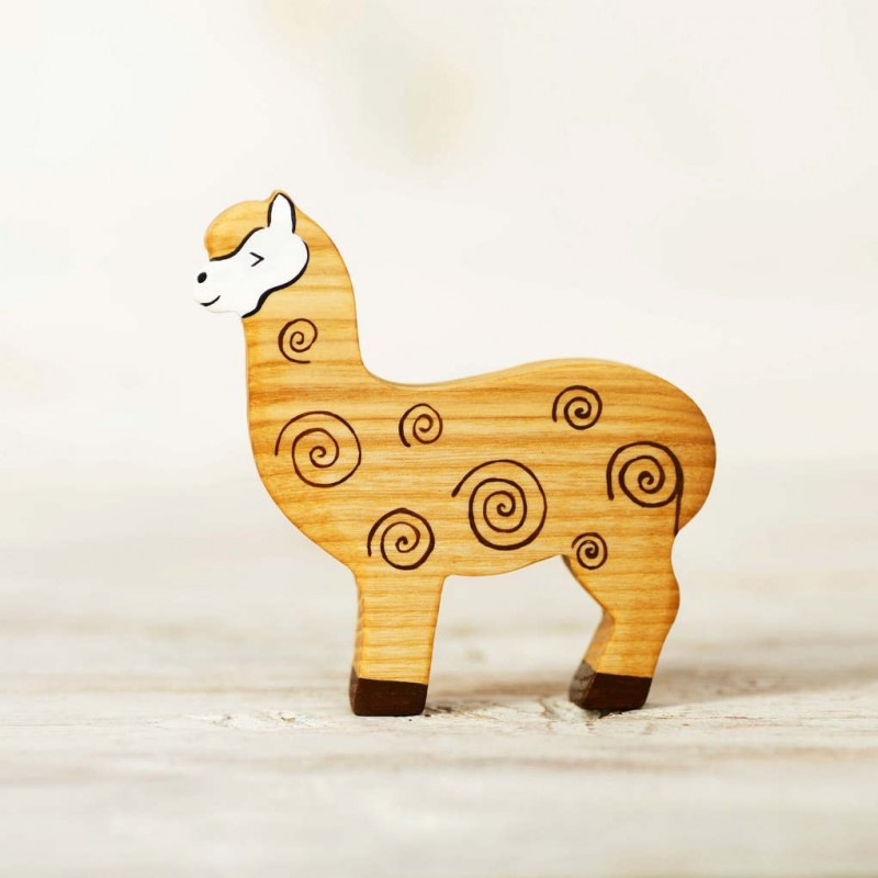Wooden alpaca toy