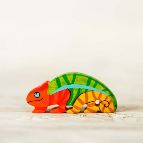 Wooden toy chameleon figurine
