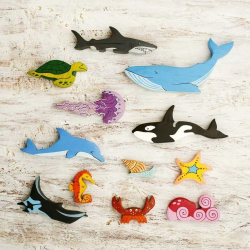 Wooden Big Sea Animals Toy Set