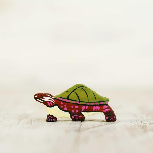 Wooden toy lake turtle figurine