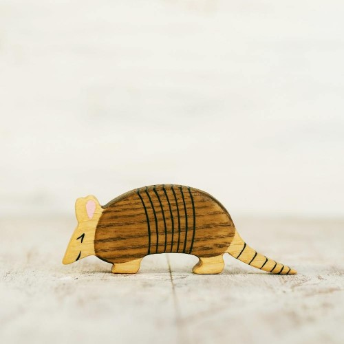 Wooden toy armadillo figurine