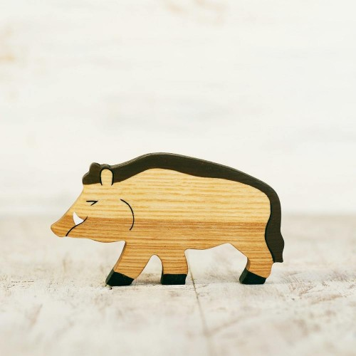 Wooden toy Wild Boar figurine