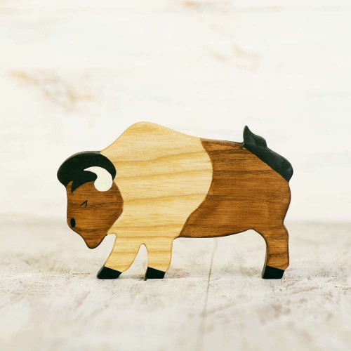 Wooden Toy Bison figurine