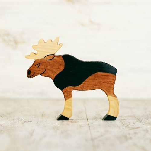 Wooden toy Moose figurine