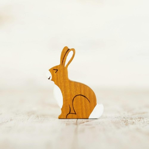Wooden toy hare figurine