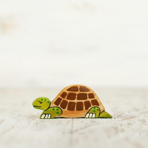 Wooden toy tortoise figurine
