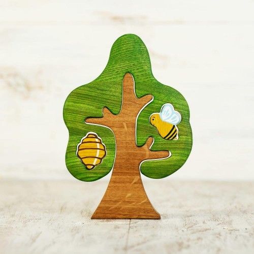 Wooden Tree With Bee and Beehive