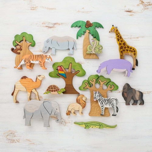Wooden African Safari Animals Play Set