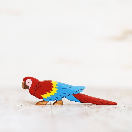 Wooden toy parrot figurine