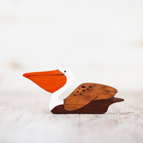 Wooden toy Pelican figurine