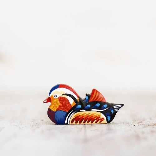 Wooden toy Mandarin Duck figurine