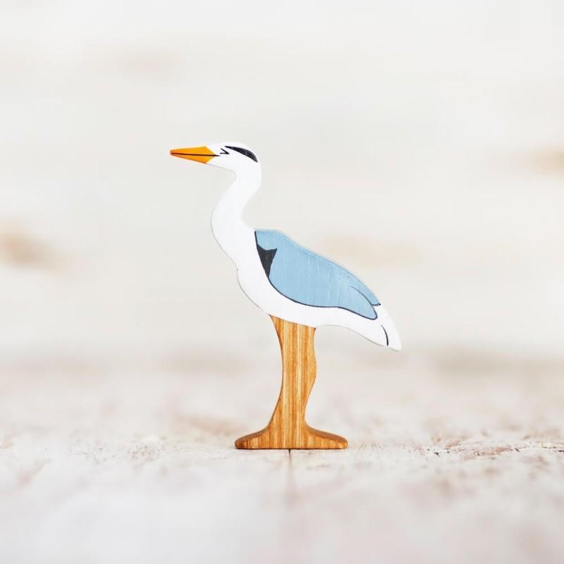 Wooden heron figurine