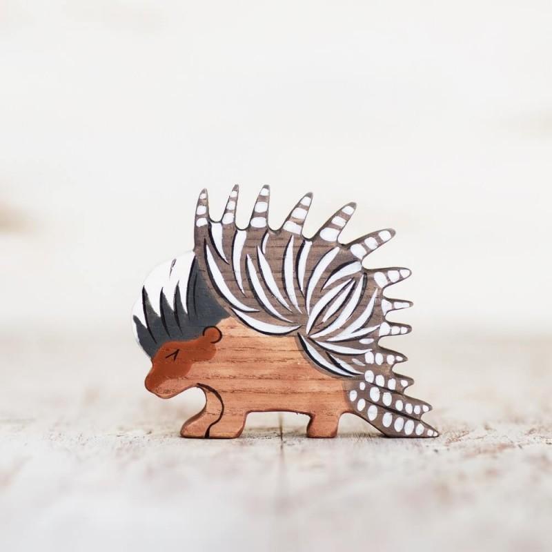 Wooden toy porcupine figurine