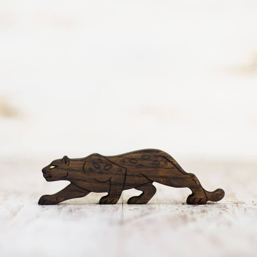 Wooden toy panther figurine