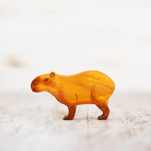 Wooden toy capybara figurine