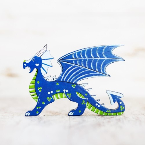 Wooden Blue Dragon Toy