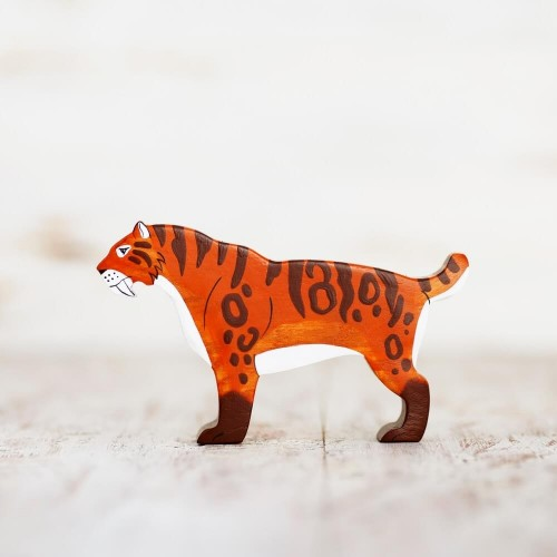 Wooden toy Sabre-toothed cat figurine