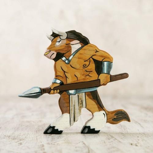 Wooden Minotaur figurine