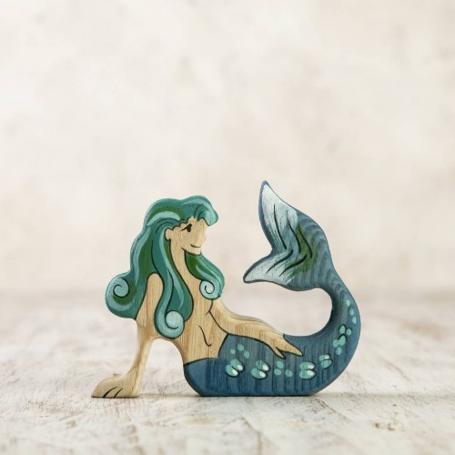 Wooden Mermaid Figurine