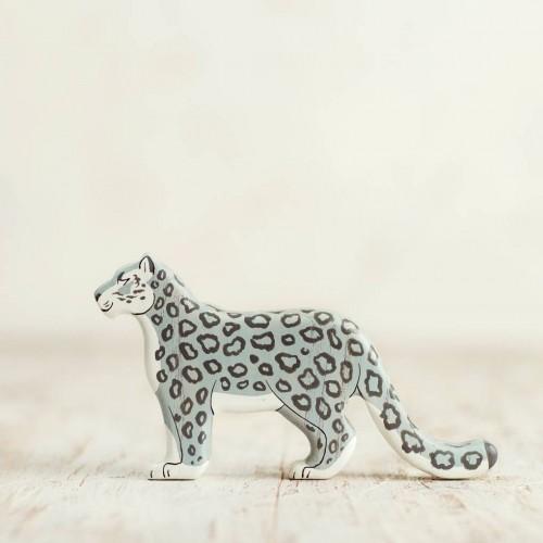 Wooden Snow Leopard Figurine
