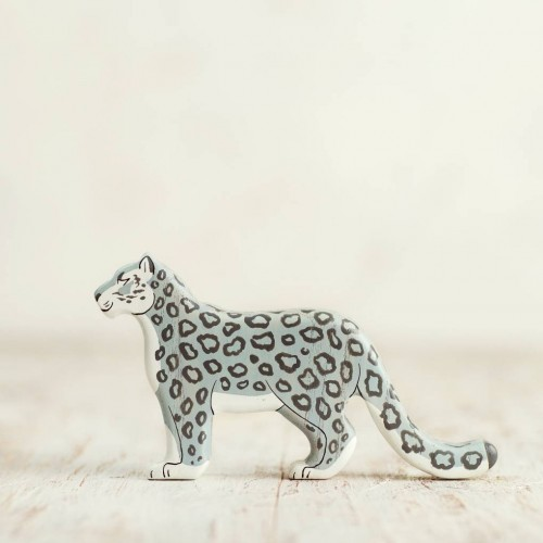 Wooden snow leopard figurine