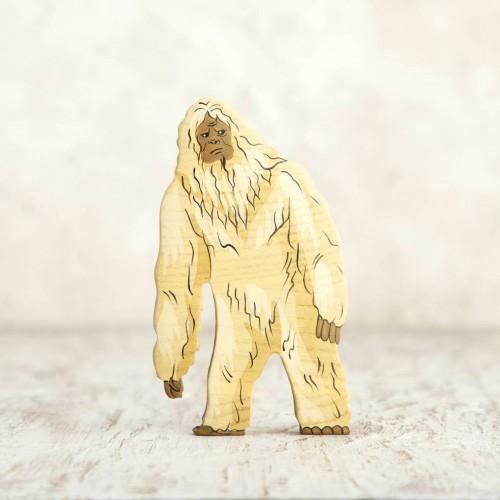 Wooden yeti toy figurine