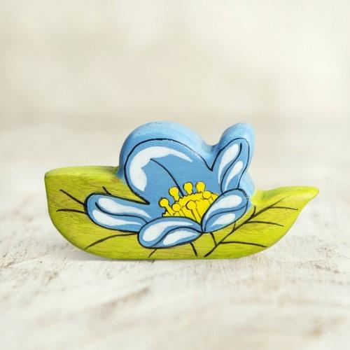 Wooden blue flower figurine