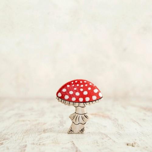 Wooden fly agaric mushroom figurine