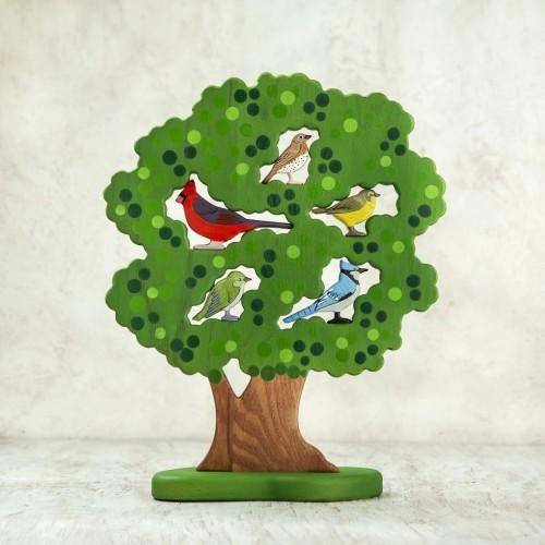 Woodland tree with 5 birds